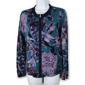 Tory Burch Zip Up Floral Print Cardigan Sweater